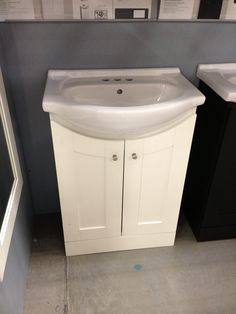 For smaller bathroom! More storage than simply a pedestal sink!
