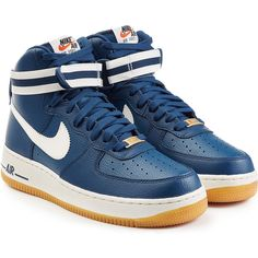 Nike Air Force 1 Mid 07 Leather High Top Sneakers ($149) ❤ liked on Polyvore featuring shoes, sneakers, blue, platform sneakers, leather high tops, nike high tops, high top shoes and blue high tops