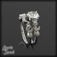 Moon and Stars Diamond Engagement Ring and Wedding Set - LS1309.  via Etsy.