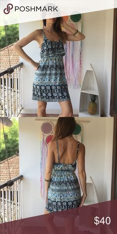 Jetset gypsy midlength dress in summer bohemian Handmade in bali back with new patterns for 2017. Features elastic empire waist and adjustable straps with flowy body designed to accommodate sizes small-medium. A super popular and practical summer bohemian look! handmade Dresses Midi