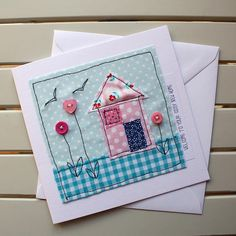 New Home Card - Handmade - Machine Embroidered - Blue House - Personalised Insert - Welcome to your cosy new home Fabric Cards, Fabric Postcards, Paper Cards, Diy Cards, Embroidery Cards, Free Motion Embroidery, Freehand Machine Embroidery, Free Machine Embroidery, New Home Cards