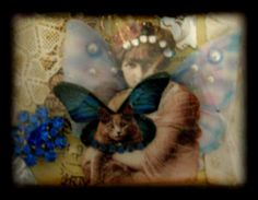 Vintage lady with wings 3D ATC