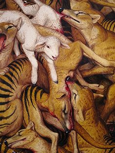 First thought that these were lambs and foxes but then I realised that these are the extinct Tasmanian Tigers… art by Walton Ford acbarasi Walton Ford, Tasmanian Tiger, Animal Paintings, Oeuvre D'art, Les Oeuvres, Vintage Art, Concept Art, Street Art, Illustration Art