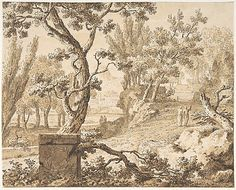 Arcadian Landscape with Figures ~ Jan de Bosch, 18th century drawing