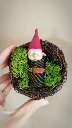 Gnome Baby | FaunleyFae Gnome Hat, Gnomes, Art Dolls, Fantasy Art, Sculpting, Polymer Clay, Sculptures, Objects, Hand Painted