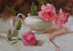 Roses and Ribbons by Judy Crowe Oil ~ 8 x 10