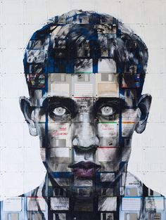 Nick Gentry is a creative talented British artist from London.Check out 10 Most Creative Portraits Done With Floppy Disks By Nick Gentry Artwork Images, Cool Artwork, Illustrations, Illustration Art, Pablo Picasso Artwork, Richard Hamilton, Street Art, St Martin, Floppy Disk