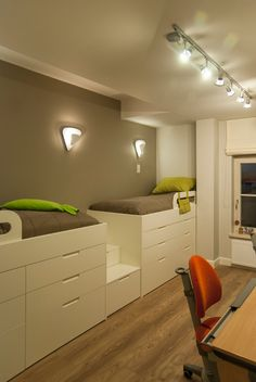 Innovative twin loft bed with desk in Kids Contemporary with Building Loft Beds With Desks next to Bedroom Cupboard alongside Under Stair Storage and Bed Design