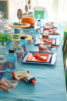 Every 7-year-old boy will be battling it out at a Nerf Gun Birthday Party! Fun party and decor ideas for your next nerf gun birthday party.