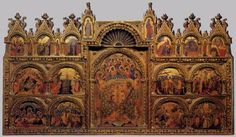 PAOLO VENEZIANO Polyptych  c. 1350 Tempera on panel, 167 x 285 cm Gallerie dell'Accademia, Venice  The development of the art of Paolo Veneziano is characterized by a kind of see-sawing supremacy of one or the other of two influences: on the one hand, the advances being made in contemporary Italian painting and on the other the traditions of oriental figurative art