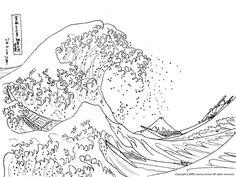 UKIYOE COLORING A PICTURE-HOKUSAI-The Great Wave of Kanagawa