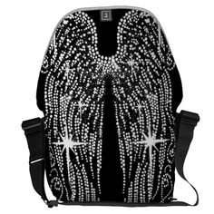 Bling Black and White Angel Wings Courier Bags Cool Messenger Bags, White Angel Wings, Personalized Gifts, Bling, Black And White, Stylish, Sweaters, Shopping, Tops