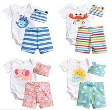 Z87244C 2015 verano europa diseño de moda 100% algodón conjunto de dibujos animados 3 unids ropa de bebe bebé ropa de bebé conjuntos