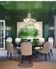Green dining room. Love laquer on wall, trim and ceiling.