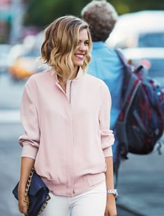 Pink top and the ubiquitous lob bob. I am victim to this trend. Chop away!
