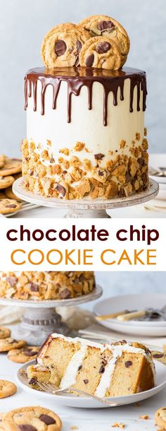 Chocolate Chip Cookie Cake (Gluten Free) - (SPONSORED) A dessert that doesn't make you choose between cake and cookies – this chocolate chip cookie cake is a dream come true. With delicate chocolate chip sponges, fluffy Swiss meringue buttercream fro Food Cakes, Cupcake Cakes, Dessert Sans Gluten, Bon Dessert, Chocolate Chip Cookie Cake, Chocolate Biscuits, Chocolate Chip Cake Recipe Easy, Chocolate Ganache Cake, Nutella Chocolate