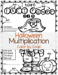 3rd Grade, 4th Grade, and 5th Grade Math Students will enjoy these Halloween-Themed Multiplication Color by Code Pages $