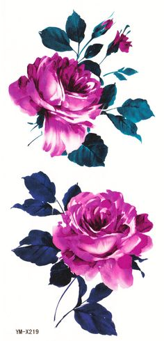 Traditional Purple Rose Temporary Tattoo Set *** Listing is for one sheet of high quality tattoo which lasts about 2 days up to a week*** *** Listing is for 1 full tattoo set sheet shown in picture #2