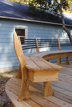 Railing Ideas, Deck Railings, Deck Benches, Curved Bench, Fence, Home  Design, The End, Upholstery, Decks
