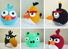 amigurumi angry birds - this is an excellent reason to learn to crochet, if you… Crochet Amigurumi, Amigurumi Patterns, Crochet Dolls, Knitting Patterns, Crochet Patterns, Angry Birds, Crochet For Kids, Free Crochet, Knit Crochet