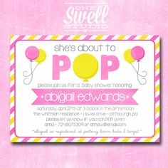 About to Pop/Ready to Pop Baby Shower DIY Printable Invitation on Etsy, $12.50