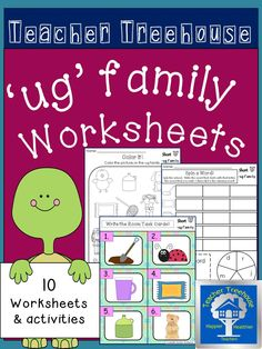 Ten different 'ug' family worksheets and simple activities to keep students engaged while learning. Great for morning work, centers, interventions, and homework!