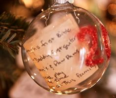Put your kid's Christmas list inside an ornament and you've got a keepsake forever. WOW what a good idea!!!