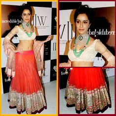 Sizzling #ShraddhaKapoor Ethnic Orange Net #Lehenga With Multi Sequence Work On It   #lehengacholi #bollywoodfashion #celebrityfashion #craftshopsindia