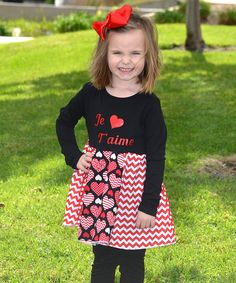Another great find on #zulily! Black 'Je T'aime' Libby Ann Dress - Infant, Toddler & Girls by Beary Basics #zulilyfinds