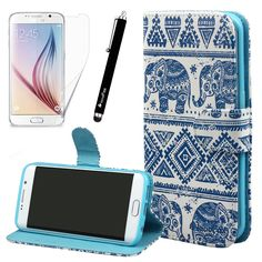 Blue Elephant Flip Leather Stand Wallet Case Cover for Samsung Galaxy S6 Edge - $4.99