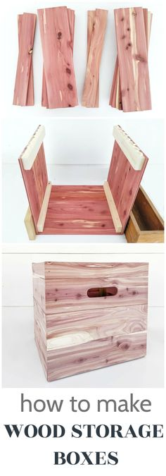 Simple step by step instructions for making beautiful custom wood storage boxes in any size you need. Simple step by step instructions for making beautiful custom wood storage boxes in any size you need. Diy Furniture Plans Wood Projects, Woodworking Projects Diy, Woodworking Plans, Diy Projects, Wood Storage Box, Storage Cubes, Fabric Storage, Diy Closet Shelves, Cedar Planks
