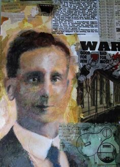 'Willy Shaw'  detail from a collage/painting by Alison Englefield. He was a Conscientious Objector W.W.1.