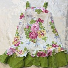 Boutique Poetica Size 2T 2 Girls Linen Pink Floral Cotton Spring Summer Dress #Poetica #CasualPartyFormal