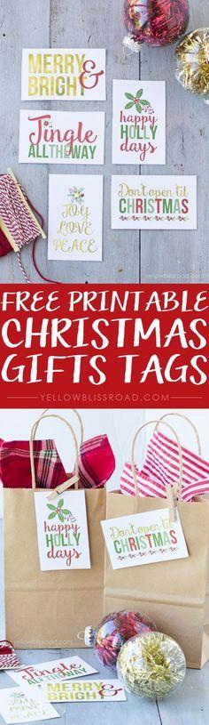 Set of 5 Free Printable Gift Tags - Coordinates with Christmes Planner, and Christmas Countdown printables.