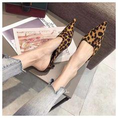 [leggycozy] Korean Fashion Leopard Pointed Toe Low Heel Casual Mules S Casual Heels, Low Heels, Kawaii Shoes, Types Of Shoes, Mules Shoes, Korean Fashion, Slippers, Platform, Toe