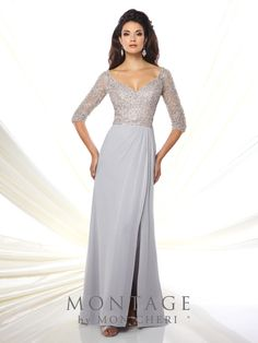 Montage 116942 is a chiffon sheath mother of the bride gown with hand-beaded  illusion be6c464f7419