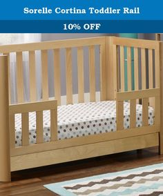 Sorelle Cortina Toddler Rail. Convert your child's daybed to a toddler bed with the Sorelle Cortina Toddler Rail. Designed to work with the Sorelle Cortina 3-in-1 Convertible Crib with Drawer, this guardrail makes it easier for your child to transition from a crib to a bed. Crafted from beechwood with a warm, natural finish, this toddler guard rail perfectly matches the rest of the bed. Additional limited-time savings reflected in current price. Dimensions: 51W x .62D x 20H in.. Converts...