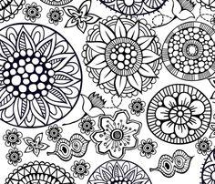 BLOOMING DOODLES fabric by deeniespoonflower on Spoonflower - custom fabric