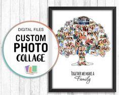 Family Tree Photo Collage Family Tree Wall Art Family | Etsy Family Tree Photo, Family Tree Print, Family Tree Wall, Tree Wall Art, Photo Tree, Tree Art, Tree Collage, Family Collage, Golden Retriever Kunst