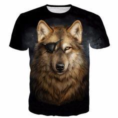 Cool Gray Pirate Wolf Yellow Eyes Wild Animal Stunning T-shirt #Cool #Gray #Pirate #Wolf #Eyes #Wild #Animal #Stunning #Tshirt