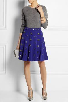 J.Crew Collection crystal-embellished crepe skirt NET-A-PORTER.COM
