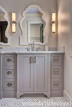 Hillhurst {Custom} Girls Bath // Veranda Estate Homes & Interiors, soft grey vanity, mosaic tile floor, Byzantine mirror