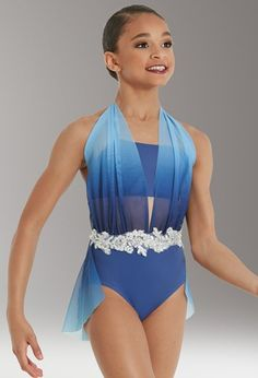 Draped Halter Leotard With Applique Tap Costumes, Dance Costumes Lyrical, Dance Leotards, Competition Dance Costumes, Gymnastics Costumes, Dance Outfits, Dance Dresses, Party Outfits, Boris Vallejo