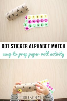 This Dot Sticker Alphabet Match using a Paper Roll is one of those activities that's super quick to prep, doesn't require a long list of materials and best of all, will keep toddlers busy and happy! Christmas Activities For Toddlers, Preschool Learning Activities, Letter Activities, Indoor Activities For Kids, Preschool Activities, Kids Learning, Learning Spanish, Teaching Resources, Learning Tools