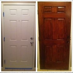 Gel Stain did wonders for our plain white door., Gel stain is available at unfinished furniture stores - www.buyunfinishedfurniture.com Woodcraft, Rockler or check out the store locator at General Finishes: http://www.generalfinishes.com/where-buy