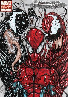 spiderman colour comic cover concept this cover is that spiderman venom and carnage team up to fight two new really strong symbiotes called mayhem and r. Comic Book Characters, Marvel Characters, Comic Character, Comic Books Art, Marvel Villains, Marvel Comics, Marvel Vs, Marvel Heroes, Venom Comics