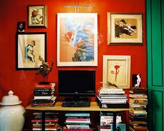 A Million and One Ways to Hang a Gallery Wall: Make your big black TV less of an eyesore in your living room by surrounding it with similarly scaled art.