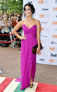 """Actress Vanessa Hudgens attends the""""Spring Breakers"""" premiere during the 2012 Toronto International Film Festival at Ryerson Theatre on September 2012 in Toronto, Canada. She Looked Gorgeous in this fuchsia strapless chiffon gown . Bridesmade Dresses, Long Bridesmaid Dresses, Prom Party Dresses, Dress Prom, Chiffon Evening Dresses, Strapless Dress Formal, Chiffon Dress, Vanessa Hudgens Dress, Buy Dress"""