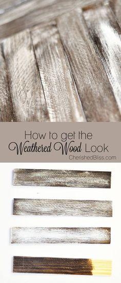 How to #Weather #Wood - Cherished Bliss. Great #DIY #tutorial plus a #WoodStain using #house products. Excelente #tutorial sobre cómo envejecer madera y otro sobre cómo #preparar #Barniz con simples productos #caseros.