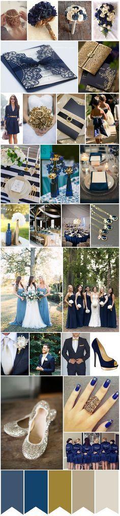Paleta de cores para casamento Azul, Dourado e Off-white. Veja mais em: casacomidaeroupaespalhada.com